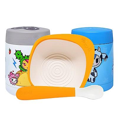【限量組合】美國 Zoli 不鏽鋼食物保溫盒+寶寶餵食餐碗湯匙組 (款式任選)