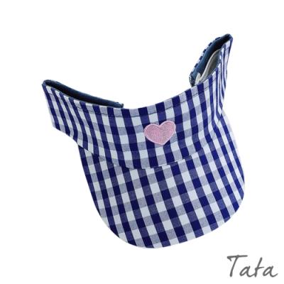 兒童愛心格紋遮陽帽 共二色 TATA KIDS
