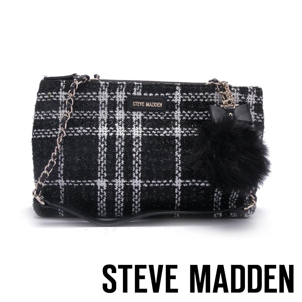 STEVE MADDEN-BEVER-S-經典黑白格紋金屬鍊帶肩背包-黑色