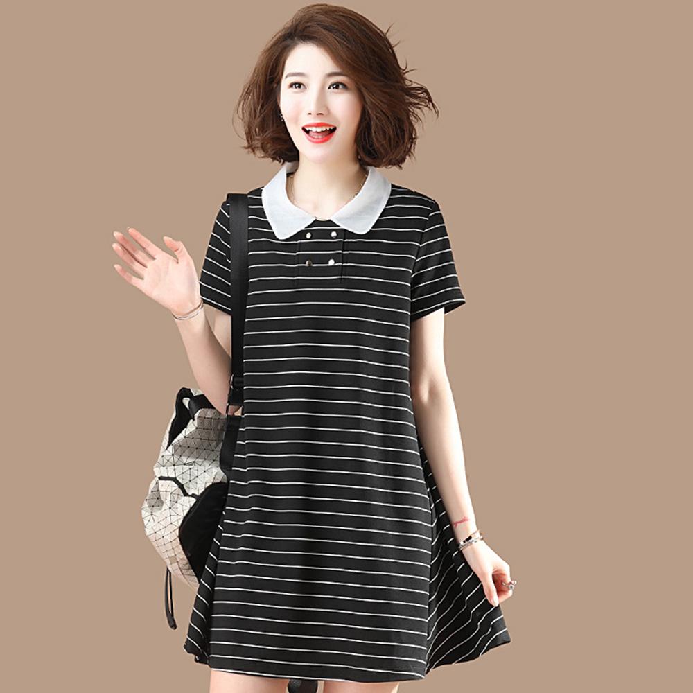 初色  條紋中長款連衣裙-黑色-(M-2XL可選)