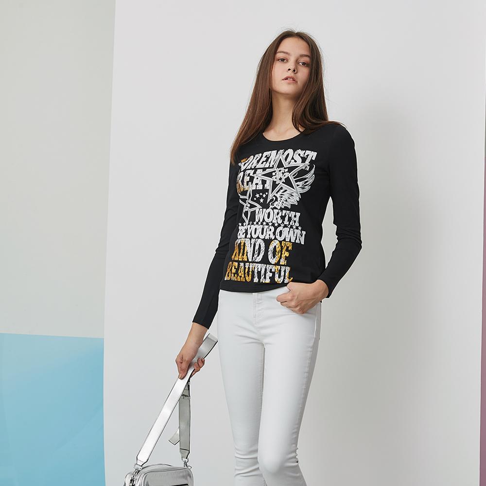 ICHE 衣哲 街頭個性字母3D立體鉚釘印花T恤造型上衣-黑