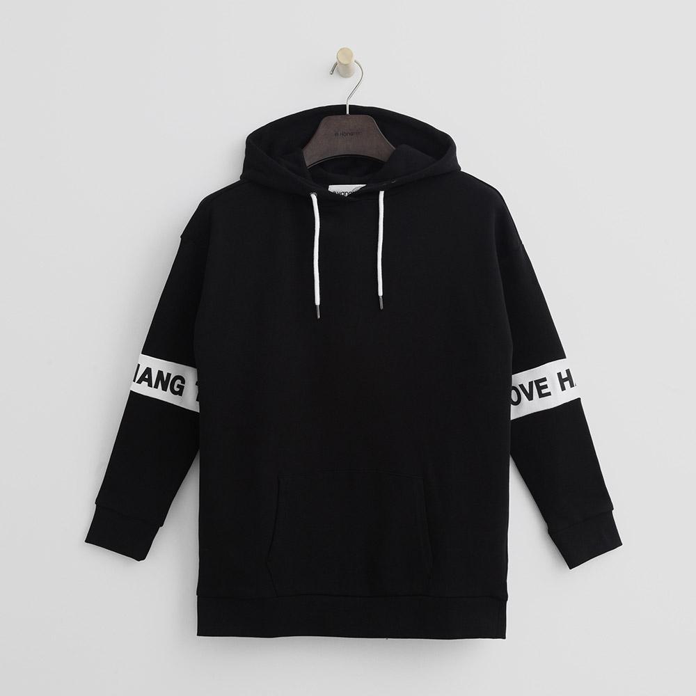 Hang Ten - 女裝 - 有機棉 - 帥氣性格印字連帽上衣-黑色