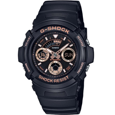 G-SHOCK潮流專屬配件玫瑰金點綴主題設計休閒錶(AW-591GBX-1A4)46mm