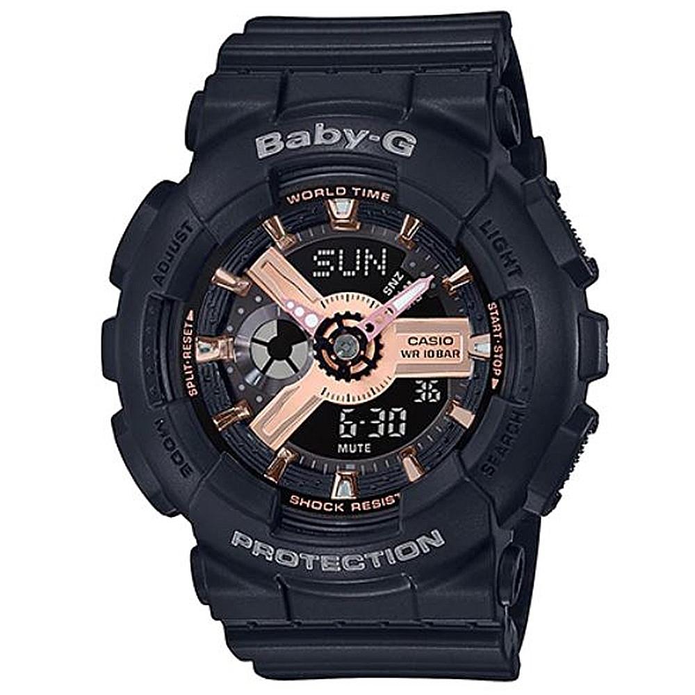 BABY-G 柔美玫瑰金設計休閒運動雙顯錶-黑(BA-110RG-1A)/43.4mm