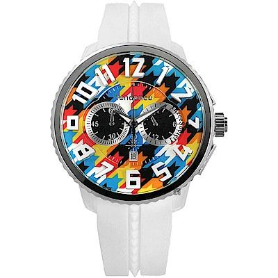 Tendence 天勢 Gulliver 千鳥格紋立體刻度計時手錶-彩色x白/51mm