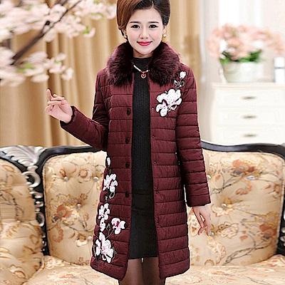 厚暖毛領繡梅羽絨棉外套-XL~5XL(共二色)-理子時尚