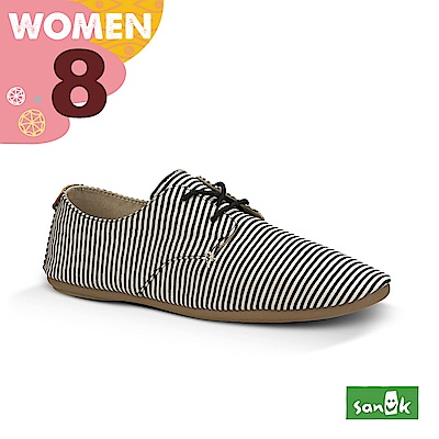 SANUK 女款US8 海軍風條紋窄版休閒鞋(黑白色)