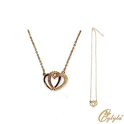 Cylyla思琳娜 雙心奇緣水晶項鍊 施華洛世奇元素N-10151G