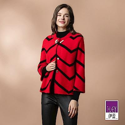 ILEY伊蕾 配色條紋仿貂絨針織外套(紅)
