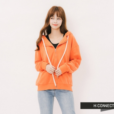 H:CONNECT 韓國品牌 女裝-後印字連帽休閒外套-橘