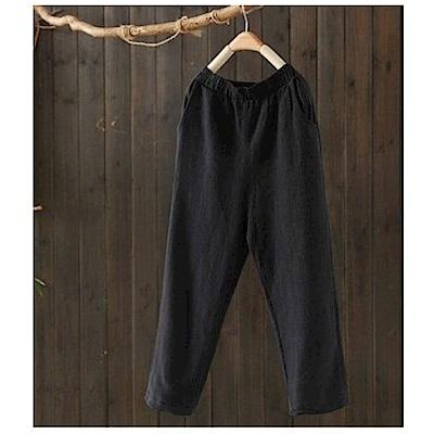 寬鬆肌理棉麻休閒哈倫九分褲-設計所在