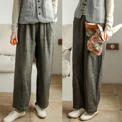 休閒褲-色織稀疏亞麻寬鬆直筒寬管-設計所在