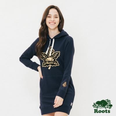 ROOTS女裝 -周年系列電繡楓葉刷毛連帽洋裝-藍色