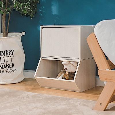 樂嫚妮 DIY 日式 收納櫃/置物櫃/玩具櫃/門櫃-木紋白色2入組-42X28.2X28.8cm