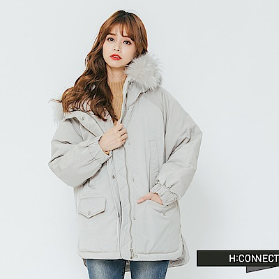 [時時樂限定] H:CONNECT 韓國品牌 女裝-雙口袋縮口連帽外套-灰