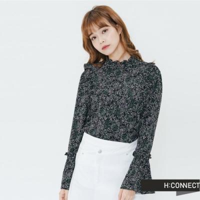 H:CONNECT 韓國品牌 女裝-小立領雪紡印花上衣-黑