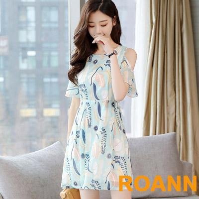 小清新圓領露肩碎花印花短袖洋裝 (淺藍色)-ROANN