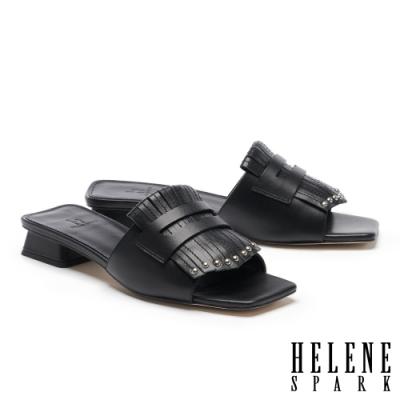 拖鞋 HELENE SPARK 簡約時髦流蘇鉚釘方頭低跟拖鞋-黑