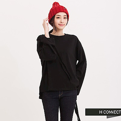 H:CONNECT 韓國品牌 女裝 - 寬袖長緞帶棉T-Shirt-黑(快)