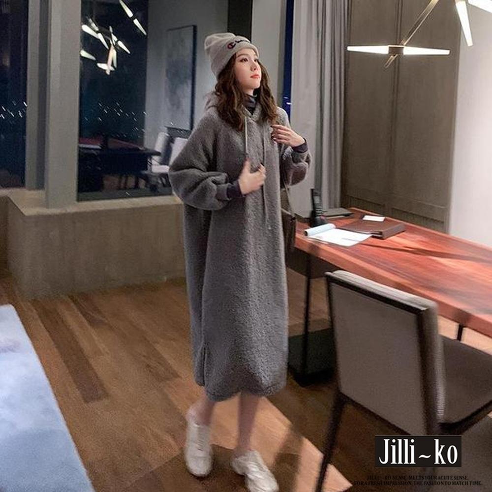 JILLI-KO 絨毛加厚寬鬆連帽連衣裙- 灰/咖啡