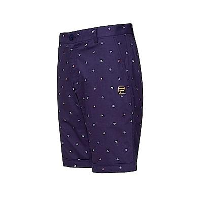 FILA 男款平織全印短褲-藍紫 1SHT-1706-DB