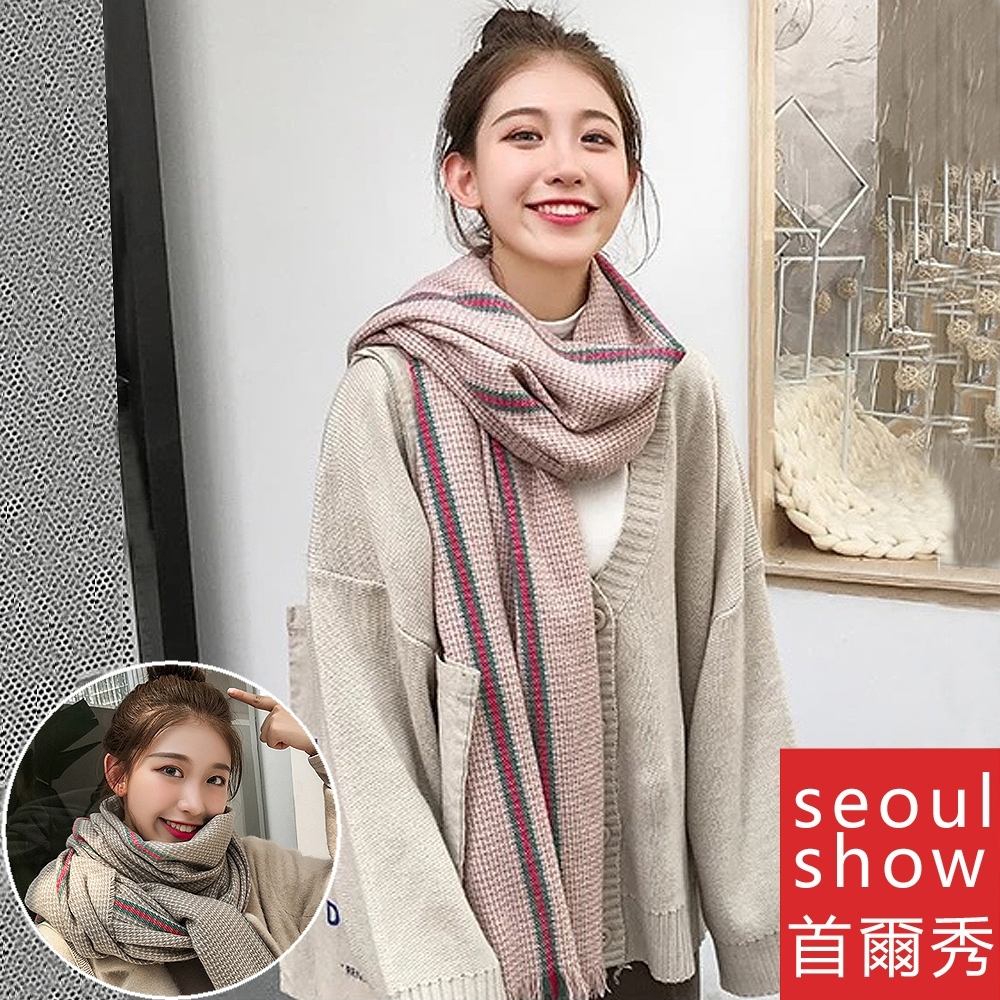 Seoul Show首爾秀 英倫經典千鳥格仿羊絨百搭圍巾披肩