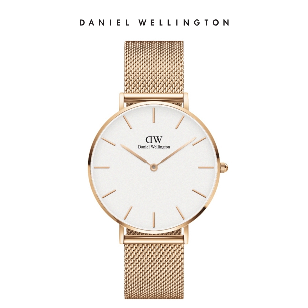 DW 手錶 官方旗艦店 36mm玫瑰金框 Classic Petite 香檳金米蘭金屬錶