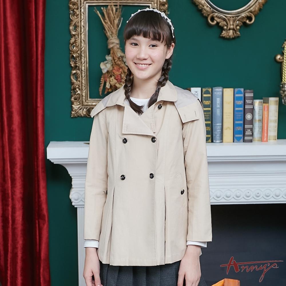 Annys安妮公主-時尚英倫秋冬款雙排扣連帽風衣外套*8298卡其