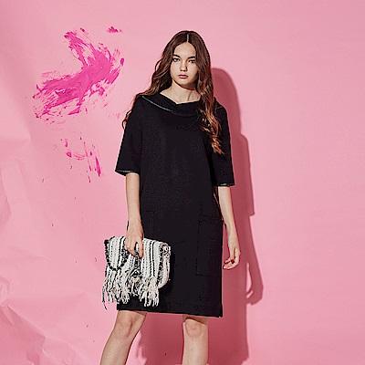 Chaber巧帛 優雅立體船型領滾邊大口袋設計五分袖造型洋裝-黑