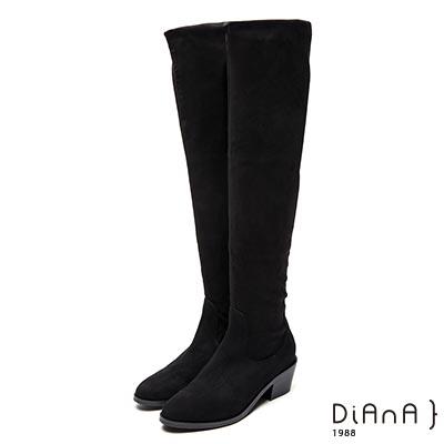 DIANA 完美甜心-簡約羊絨布膝上粗跟長靴-黑