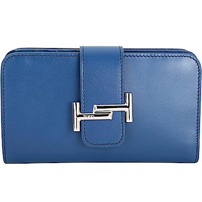 TOD'S Double T 藍色金屬設計釦式牛皮中長夾(展示品)