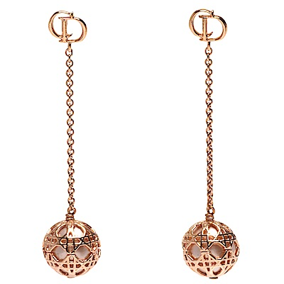 DIOR 經典Secret Cannage系列玫瑰金色大小金屬簍空墜式圓珠造型穿式耳環