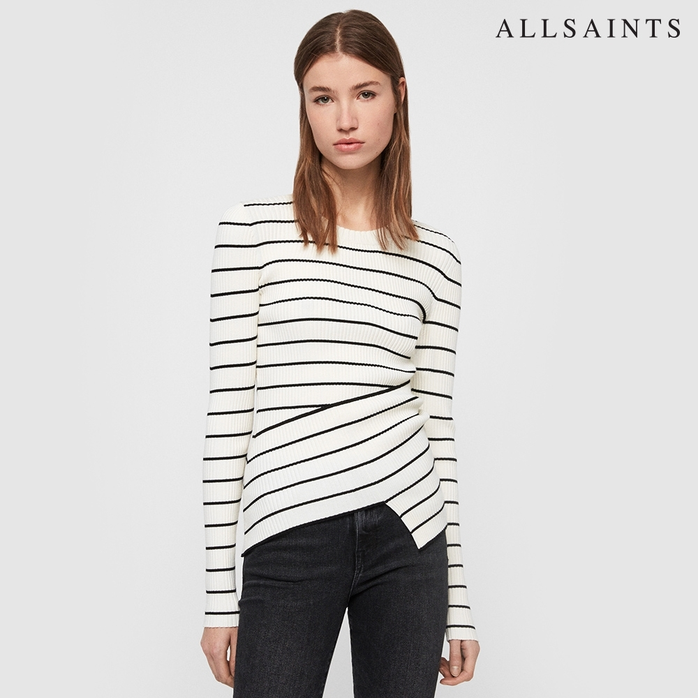 ALLSAINTS AMARA STRIPED 不規則剪裁修身條紋針織上衣-白底黑條