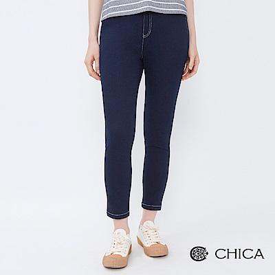 CHICA 經典好感配色縫線修身內搭褲(2色)