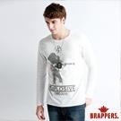 BRAPPERS 男款 吉他手印花長袖上衣-白