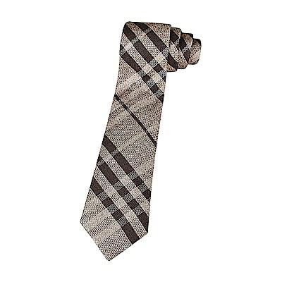 BURBERRY經典蠶絲緹花格紋設計領帶(深咖啡)