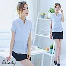 EELADY-開襟立領U壓摺條紋短袖襯衫(藍色)