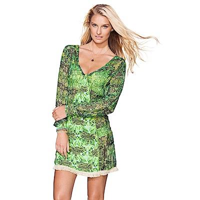 Avalanche巴西泳裝-科科拉綠野仙蹤-V領長袖印花遮臀洋裝
