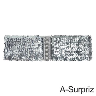 A-Surpriz 亮片金屬釦環彈性腰帶(銀)