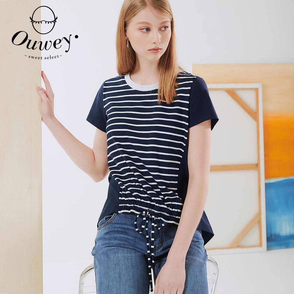 OUWEY歐薇 條紋拼接綁帶高含棉上衣(深藍)3212071225