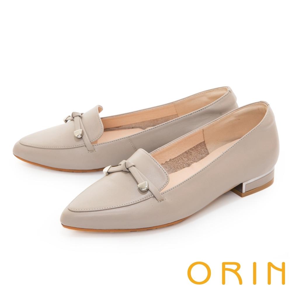 ORIN 平結金屬真皮樂福 女 低跟鞋 灰色