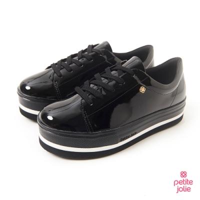 Petite Jolie--亮面飾邊厚底綁帶休閒鞋-黑/白