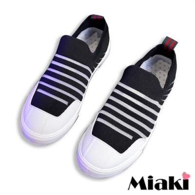 Miaki-休閒鞋時尚飛織平底懶人鞋-黑