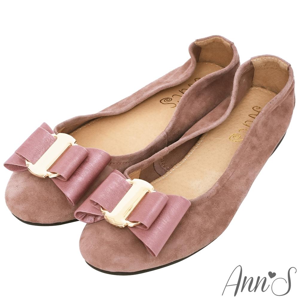 Ann'S甜蜜物語-立體雙層蝴蝶結全真皮平底娃娃鞋-粉