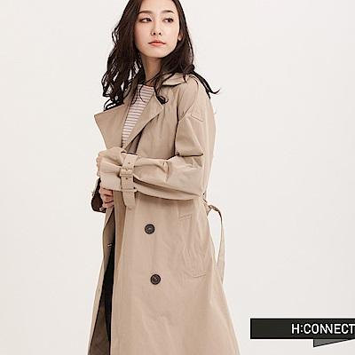 H:CONNECT 韓國品牌 女裝 - 經典卡其風衣外套 - 卡其
