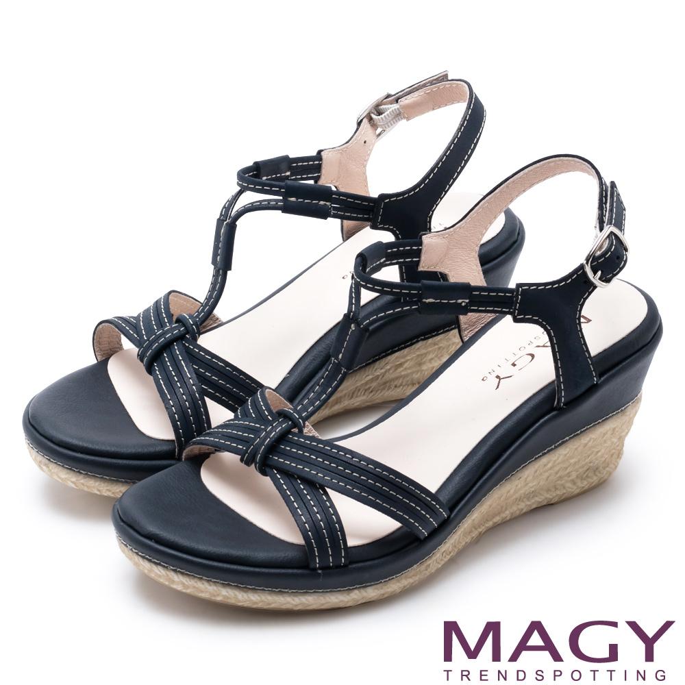 MAGY 異國風情 交叉皮面T字楔型高跟涼鞋-藍色