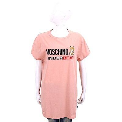 MOSCHINO Underbear 字母泰迪熊寶寶粉橘色棉質長版短袖T恤