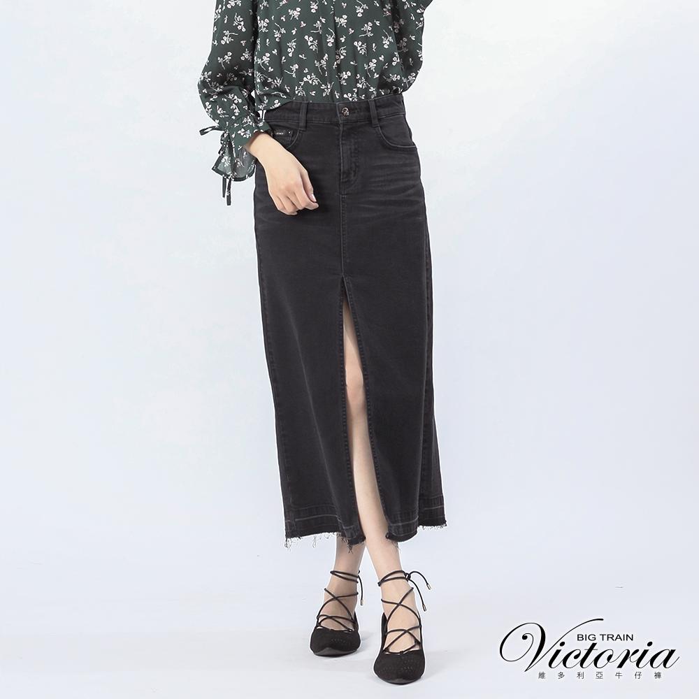 Victoria 性感前岔鑲鑚黑單寧長裙-女-黑色