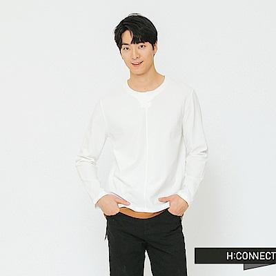 H:CONNECT 韓國品牌 男裝-簡約下擺撞色上衣-灰