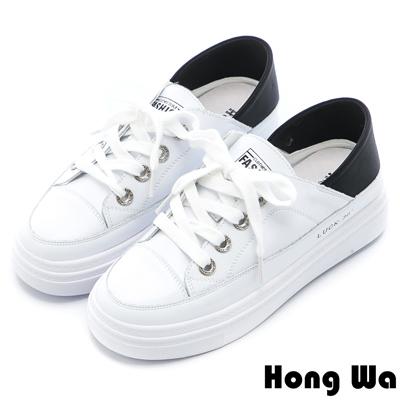 Hong Wa 2WAY極簡綁帶牛皮小白鞋 - 黑